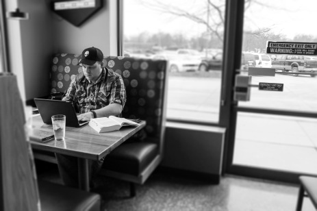 "If he's not at home, you can find him at Hy-Vee Market Grille at the same table, every time. For the U.S. Army veteran, Matthew Haynie is at the next place he feels the most comfortable. He is hyper vigilant of his surroundings at Hy-Vee because of his post-traumatic stress disorder. ""I spent about six months at a couple of hospitals in Germany. Before they let me out, they told me I have PTSD. I guess I noticed it because of my hypervigilance."" Matthew almost quit Simpson. He felt like he was being targeted because he is a conservative and others confronted him. He stayed at Simpson because the counseling services offered helped him. Matthew adores his three children, but it isn't easy for him to always do fun things with them. When he is in public, an extreme physical toll takes over. He tries his best to take his kids out to fun events because without them, he doesn't believe he would be here. ""My kids are what ground me. I know for a fact that without my kids I would be suicidal, without a doubt. I would not be here without them."" It's hard to ignore the things Matthew cares about, like when people discriminate against cops and soldiers. He hopes Simpson can improve more than just be inclusive ""to the minorities who scream acceptance"". Matthew hopes people understand that all people should be treated equally and people with mental disabilities are hypersensitive to what people think of them."